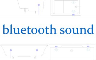 Bluetooth sound for custom baths; diagram showing the placement of hidden speakers within a bath design