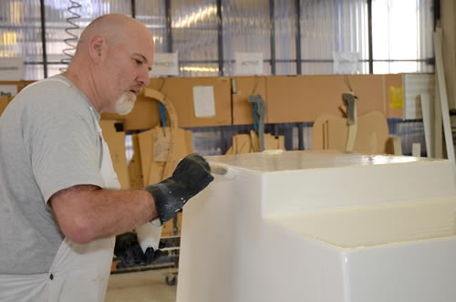 Traditional hand crafting is an important part of our bath manufacturing process
