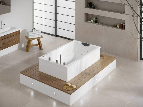 A luxury bath for deep soaking: the Yasahiro with spa hydrotherapy system