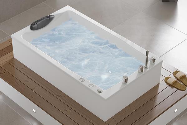 Yasahiro deep soaking tub, with hydrotherapy system.